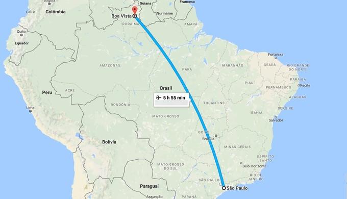 Equipe irá atravessar o país para estrear pela Copa do Brasil (Foto: Reprodução Google Maps)