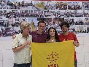 Pré candidatos do Psol - Bruno Meirinho, de vermelho, saiu da disputa (Foto: Divulgação/PSOL)