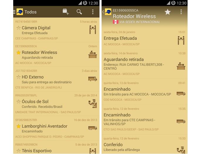 Carteiro é um aplicativo para rastrear o envio e o recebimento de encomendas dos Correios (Foto: Divulgação)