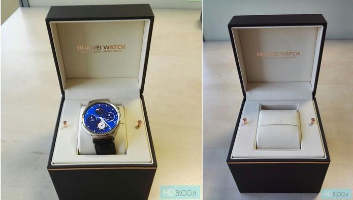 Caixa acolchoada do smartwatch da Huawei (Foto: Reprodução/hdblog)