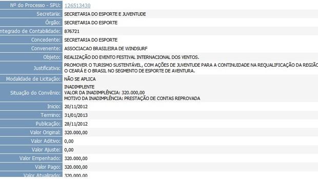 print; portal; transparência; sesporte (Foto: Reprodução/Portal da Transparência do Governo do Estado do Ceará)