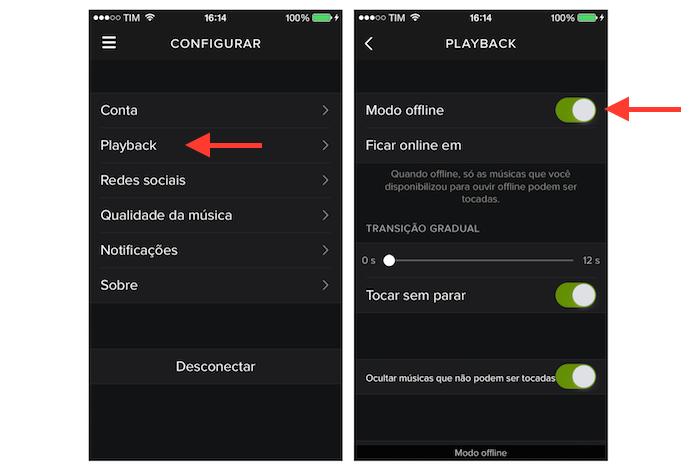 Ativando o modo offline do Spotify no iPhone (Foto: Reprodução/Marvin Costa)