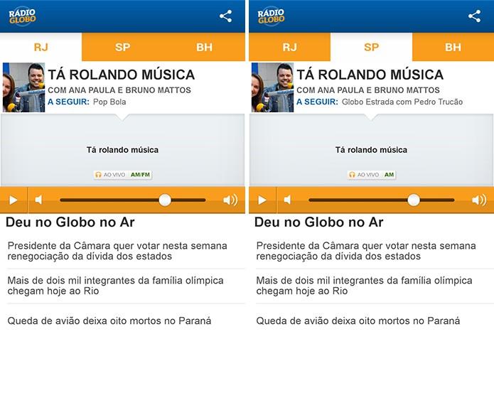 Rádio Globo tem aplicativo com streaming das emissoras de Rio de Janeiro, São Paulo e Belo Horizonte (Foto: Reprodução/Elson de Souza)