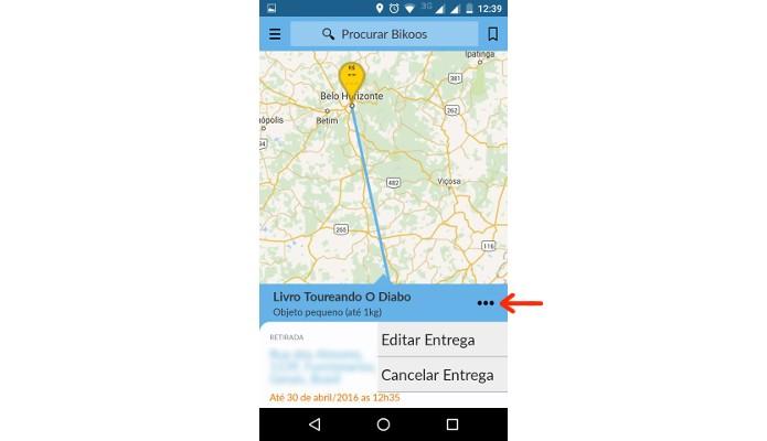 Mapa mostrando sua solicitação de entrega (Foto: Reprodução/Raquel Freire)