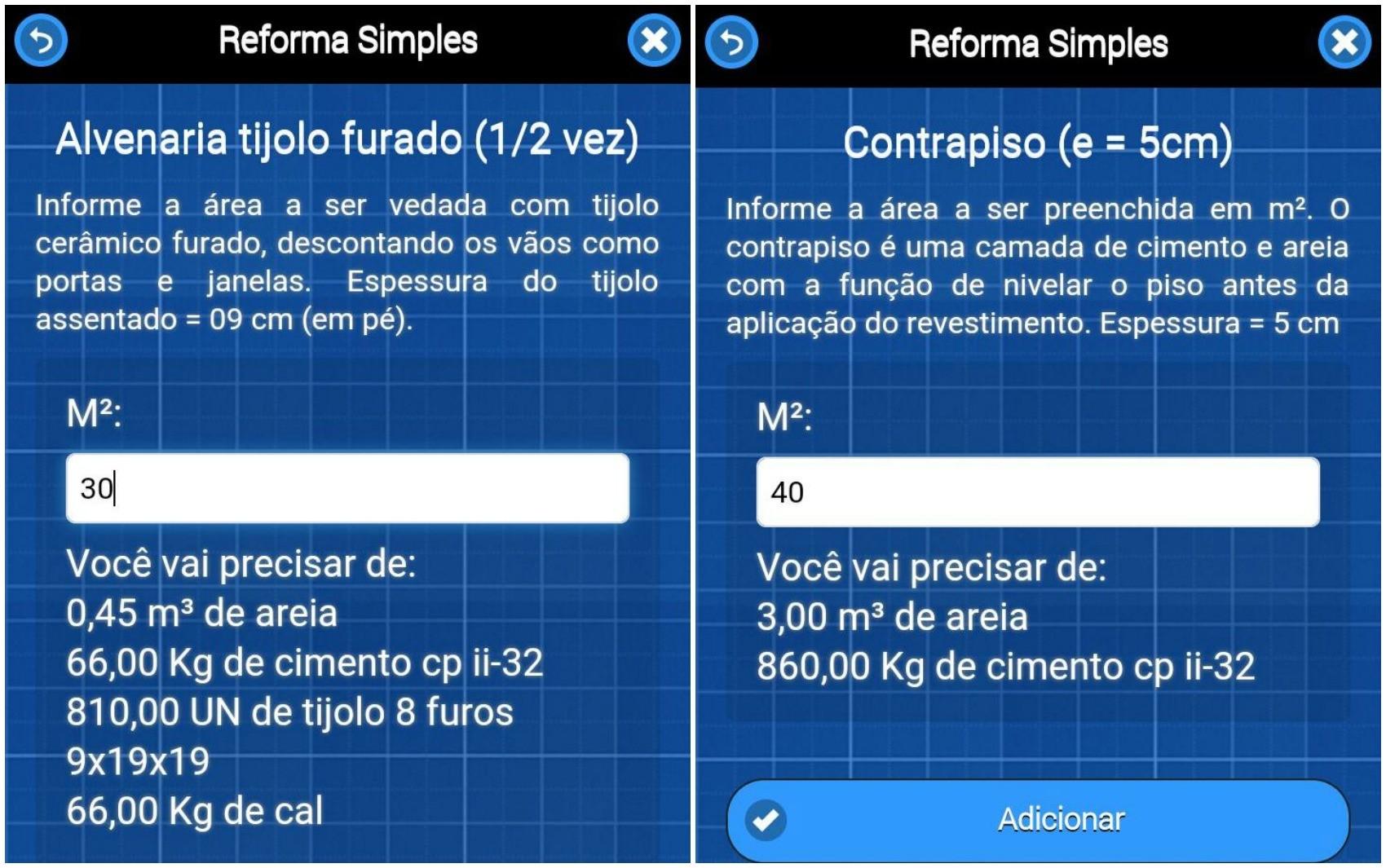 Usuário pode verificar a quantidade de material necessário para reformas de ambientes (Foto: Reprodução/Reforma Simples)