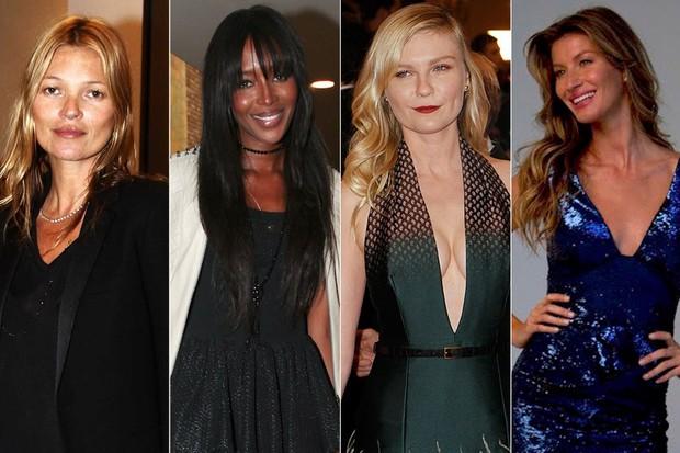 Kate Moss, Naomi Campbell, Kirsten Dunts e Gisele Bündchen (Foto: Paduardo / AgNews || Manuela Scarpa / Foto Rio news || Reuters || Divulgação)