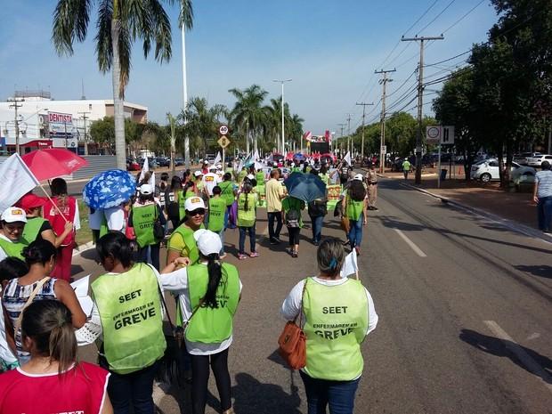 Protesto ocorre na avenida JK, no centro de Palmas (Foto: Divulgação)