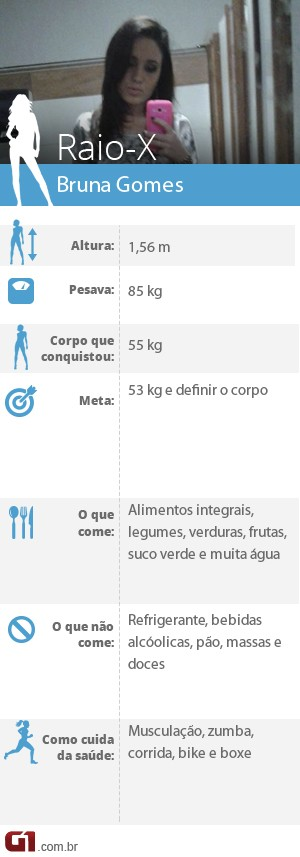 Bruna Correa emagreceu 30 kg e pretende emagrecer mais 2 kg (Foto: Editoria de Arte/G1)