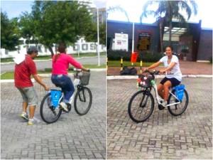 Adultos aprendem a andar de bicicleta na Praça do Papa, em Vitória (Foto: Natália Devens/ CBN Vitória)
