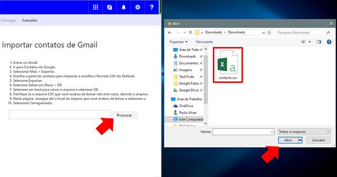 Use o arquivo CSV obtido no Gmail (Foto: Reprodução/Paulo Alves)