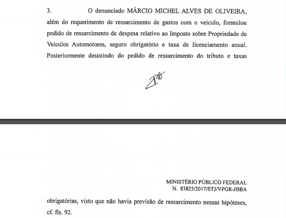Trecho de denúncia da PGR acusa Dr. Michel de ter tentado até ressarcimento de gasto com IPVA e taxa de licenciamento (Foto: Reprodução)