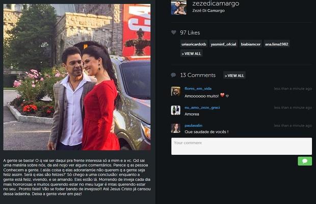 Zezé di Camargo e Graciele Lacerda (Foto: Instagram / Reprodução)