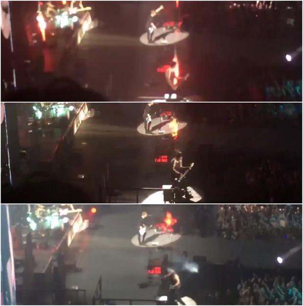 Parte do vídeo em que Michael Clifford se queima em apresentação em Londres (Foto: Reprodução/Twitter)