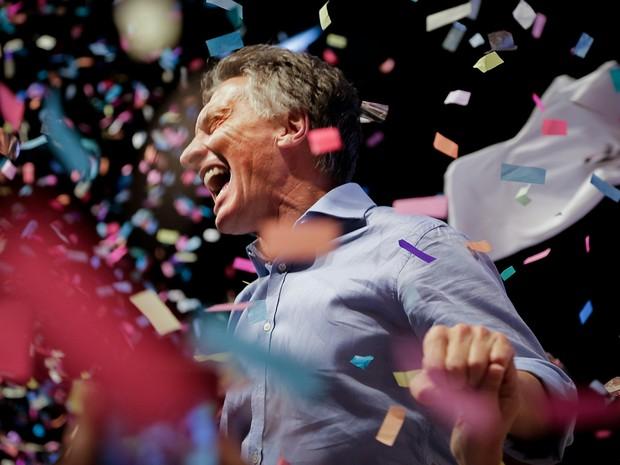 Macri comemora vitória nas eleições presidencias da Argentina neste domingo (Foto: HO/CAMBIEMOS/AFP)