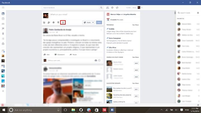 Facebook para Windows 10 ganhou suporte a transmissão ao vivo (Foto: Reprodução/Elson de Souza)