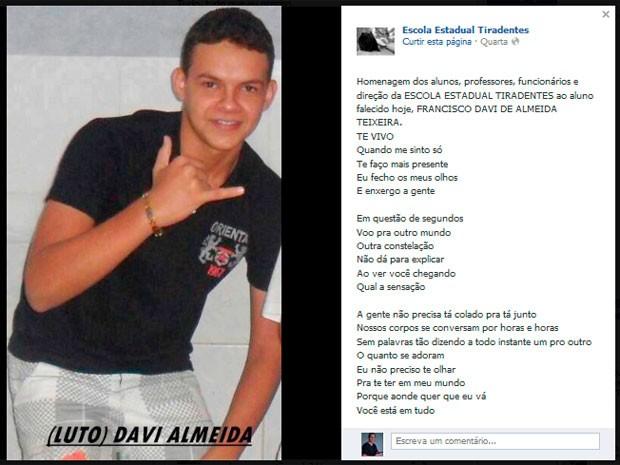 Francisco Davi de Almeida Teixeira, de 14 anos, morreu na colisão de trem com ônibus em Natal (Foto: Reprodução/Facebook)