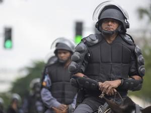Policiamento reforçado para jogo entre Bélgica e Rússia no Maracanã (Foto: Erbs Jr./Frame/Estadão Conteúdo)