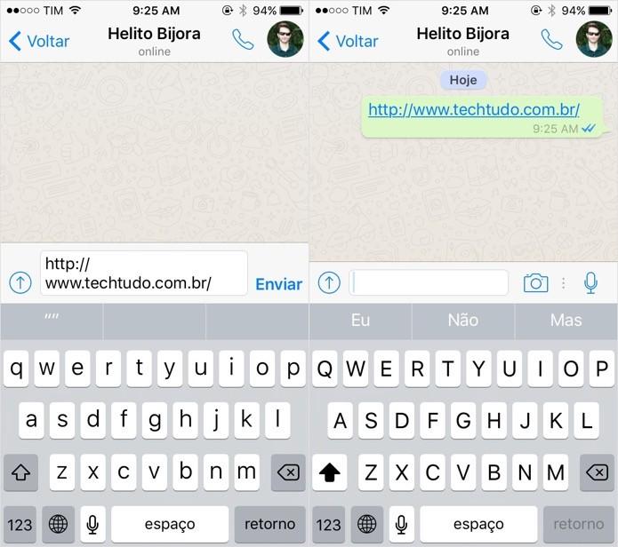 Mensagem será enviada sem o preview do link (Foto: Reprodução/Helito Bijora)