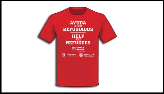 Camisa refugiados Barcelona x Atlético de Madrid