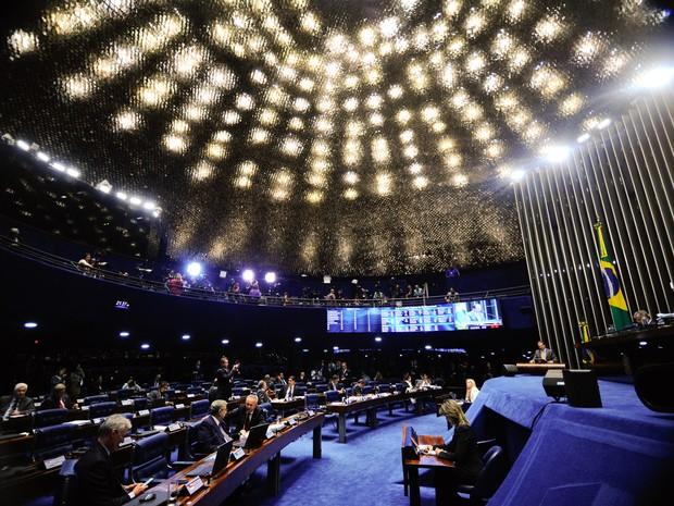 Plenário do Senado, em Brasília, durante sessão que decide se a presidente afastada Dilma Rousseff vai a julgamento no processo de impeachment (Foto: Marcos Oliveira/Agência Senado)