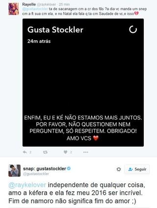 Gustavo responde ao fã (Foto: Reprodução/Twitter)