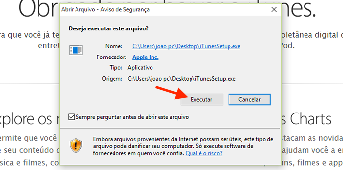 Executando o setup de instalação do iTunes no computador com Windows (Foto: Reprodução/Marvin Costa)