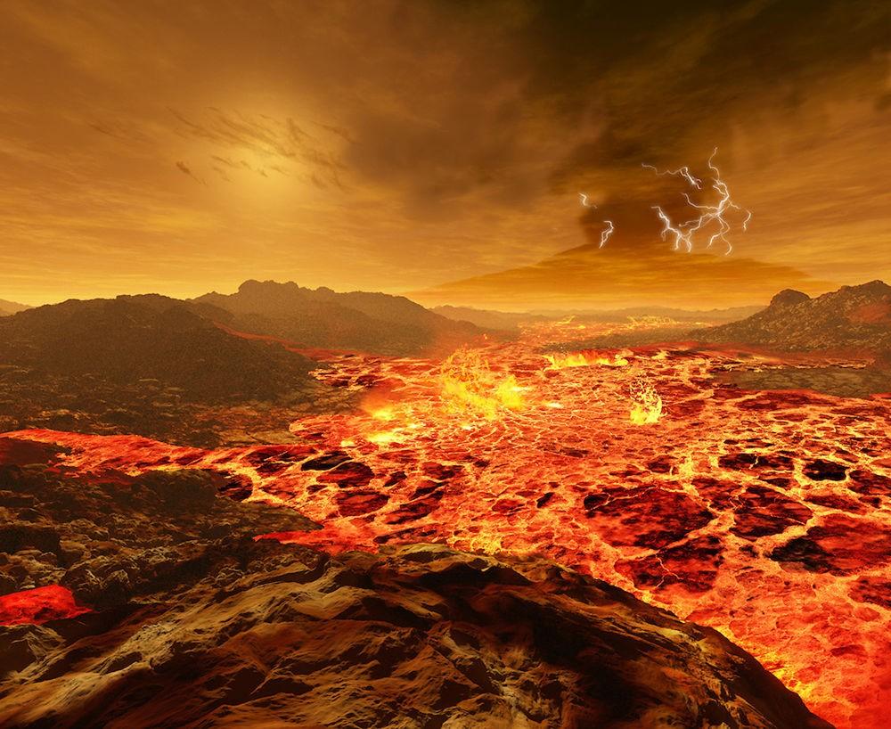 Vênus, 108 milhões de quilômetros do Sol. A atmosfera é sufocante, com muito dióxido de carbono, e o ambiente é infernal, com vulcões e lava por toda parte (Foto: Ron Miller | Divulgação)