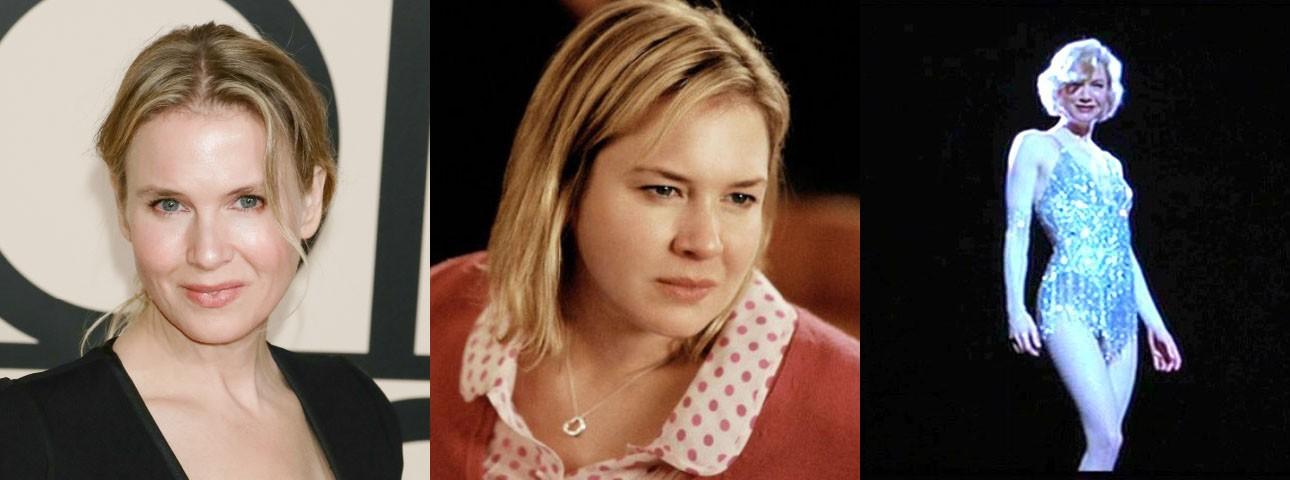 A doce Renée enfrentou uma mudança corporal para interpretar a personagem-título em 'O Diário de Bridget Jones' (2001) e sua sequência. A atriz engordou quase 14 kg para o papel. Em 2002, ela surgiu esbelta no musical 'Chicago', trabalho pelo qual ela perdeu 9 kg. (Foto: Getty Images/Reprodução)