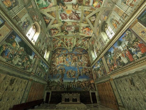Capela Sistina em 360°, do site do Vaticano (Foto: Reprodução/vatican.va)