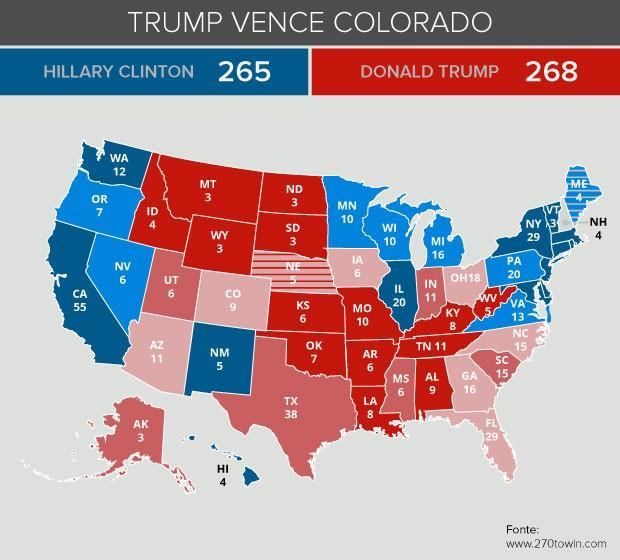 Mapa eleição Trump vence colorado