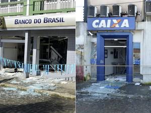 Agências da Caixa Econômica Federal e Banco do Brasil foram explodidias em Muritiba (Foto:  Edgard Abbehusen)