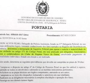Documento Mensalão Vasco da Gama (Foto: Raphael Zarko)