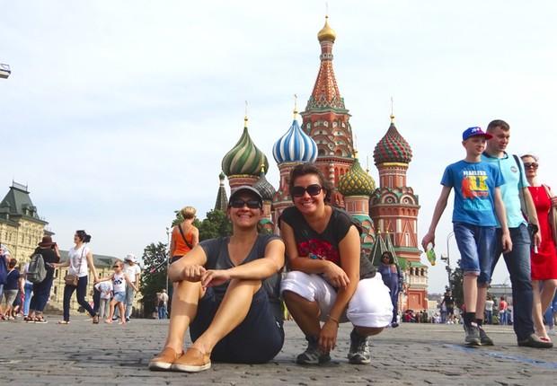 Taciana Mello e Fernanda Moura na Praça Vermelha em Moscou (Foto: The Girls on the Road)