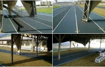 Palco montado em pista de atletismo no Zerão gera polêmica na web, no AP