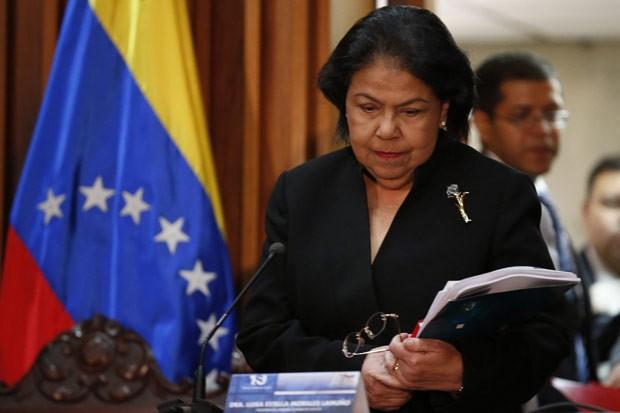 A juíza Luisa Estella Morales, presidente do TSJ, dá entrevista nesta quarta-feira (9) em Caracas, capital da Venezuela (Foto: AFP)