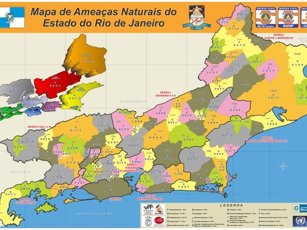 Mapa de Ameaças Naturais do Estado do Rio de Janeiro 2014 (Foto: Divulgação/Governo do Estado)