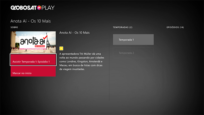 Selecione um programa do Globosat Play (Foto: Reprodução/Murilo Molina)