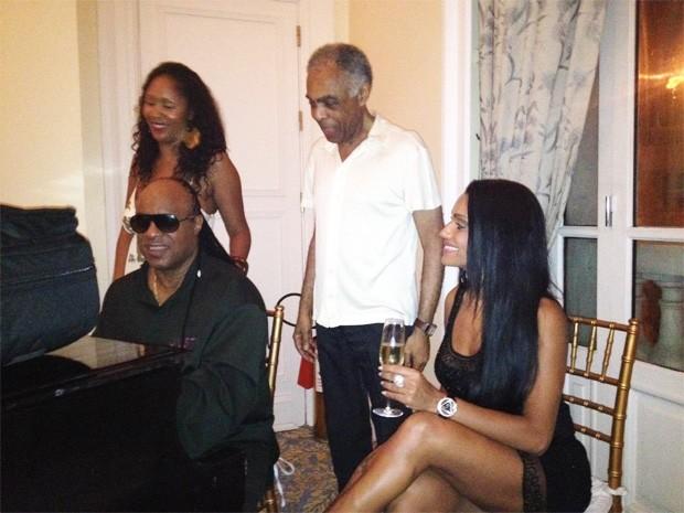 Musa da mocidade, Ana Paula Evangelista, Stevie Wonder e Gilberto Gil (Foto: Divulgação)