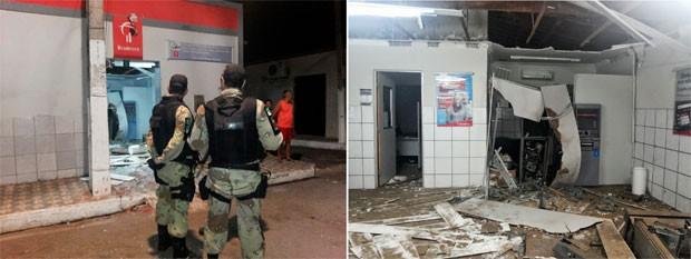 Agência do Bradesco na cidade do Alto do Rodrigues ficou completamente destruída com a explosão (Foto: Francisco de Assis de Souza Martins/Falando Irreverente)