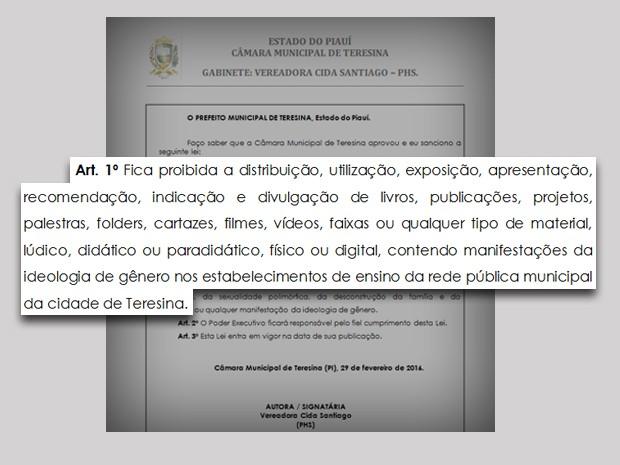 Lei proibe ideologia de gênero em escolas de Teresina (Foto: Câmara Municipal)