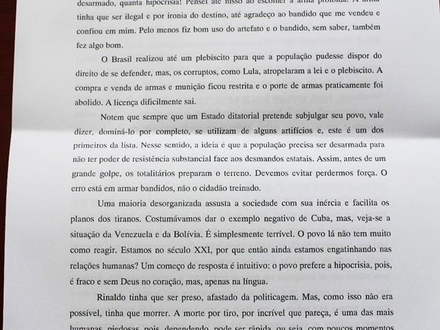 Trecho da carta deixada pelo servidor Guilherme Wanderley Lopes da Silva  (Foto: Reprodução/Carta divulgada pelo MPRN)