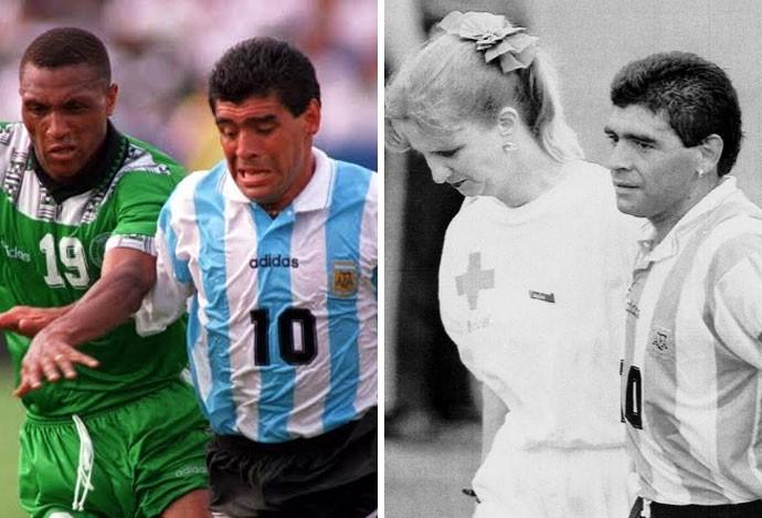 Contra Emenalo. Maradona faria duras críticas à violência nigeriana após o  jogo. Maradona Inesquecível (Foto  Montagem sobre foto da Getty Images e AP) be29817a10dda