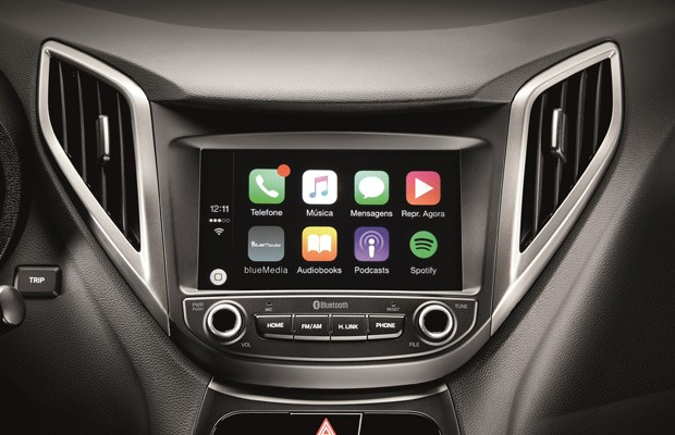 Apple CarPlay é incorporado à central multimídia do Hyundai HB20 (Foto: Divulgação)