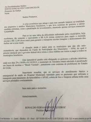 Prefeito divulga carta justificando adesão ao protesto em Goiás (Foto: Divulgação/AGM)