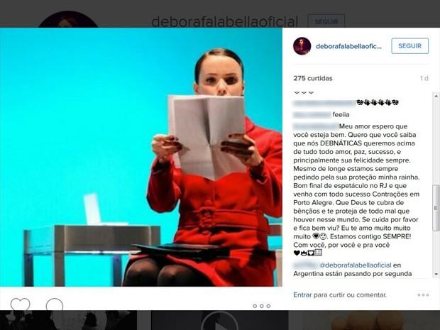 Fãs desejaram que a atriz fique bem após as ameaçadas que teria sofrido. (Foto: Reprodução/ Instagram)