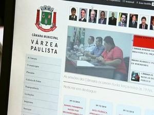 Site da Câmara de Várzea Paulista recebe nota 10 em ranking do MP (Foto: Reprodução / TV TEM)