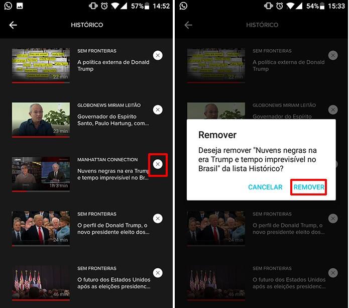 Usuário pode remover programa assistido do histórico do Globosat Play (Foto: Reprodução/Elson de Souza)