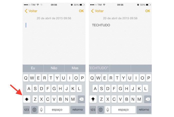 Fixando letras em caixa alta no teclado do iPhone (Foto: Reprodução/Marvin Costa)