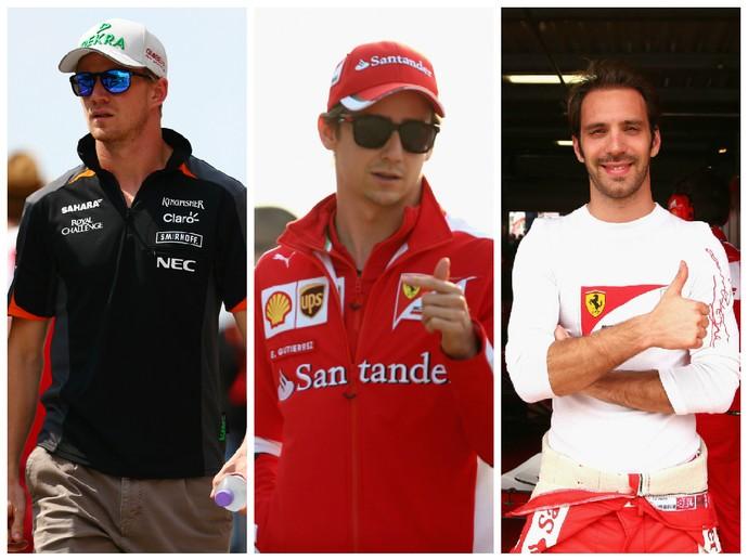 Nico Hulkenberg, da Force India, e os ex-pilotos de F-1 Esteban Gutiérrez e Jean-Eric Vergne estão na mira da Haas (Foto: Montagem sobre fotos da Getty)
