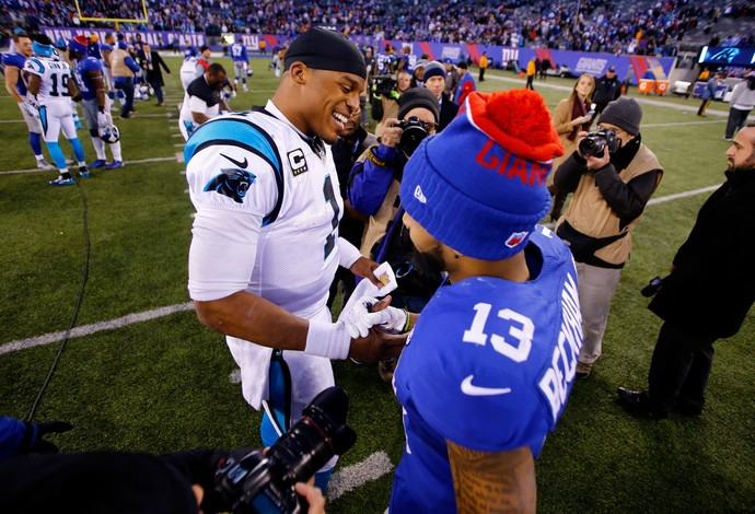 Cam Newton e Odell Beckham Jr. - Giants x Panthers NFL (Foto: Getty Images)